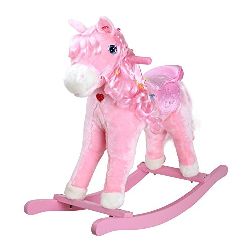 Small Foot Company 4131 - Caballito Balancín de Peluche, color rosa