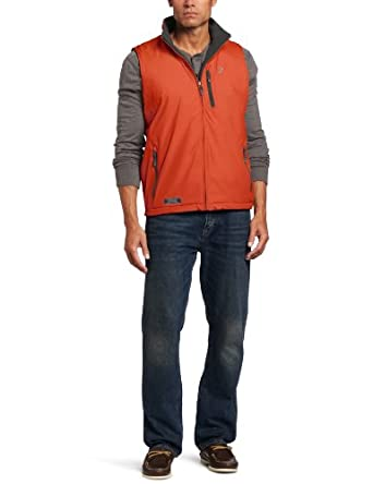 IZOD Men's Reversible Solid Vest, Rich Red, Medium at
