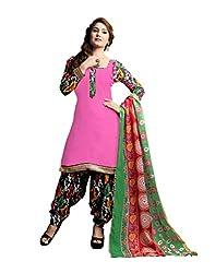 Varanga Pink Printed Dress Material with Dupatta KFRJO3008