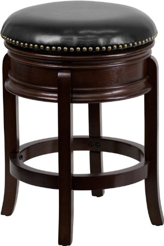 Flash Furniture TA-68824-CA-CTR-GG Backless Cappuccino Wood Counter Height Stool with Black Leather Swivel Seat, 24-Inch