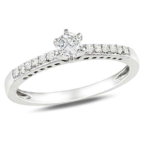 Sterling Silver 1/4 CT TGW Created White Sapphire 0.06 CT TDW Diamond Fashion Ring (G-H, I2-I3)