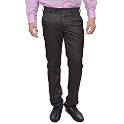 Sangam Apparels Slim Fit Mens Charcoal Formal Trousers