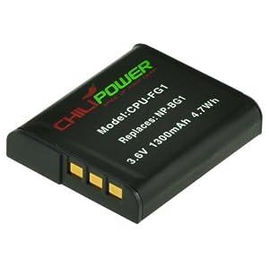 ChiliPower NP-BG1, NP-FG1 1300mAh Battery for Sony Cybershot DSC-HX5V, DSC-HX7V, DSC-HX9V, DSC-HX10V, DSC-HX20V, DSC-HX30V, DSC-H3, DSC-H7, DSC-H9, DSC-H10, DSC-H20, DSC-H50, DSC-H55, DSC-H70, DSC-H90, DSC-N1, DSC-N2, DSC-T20, DSC-T100, DSC-W30, DSC-W35, DSC-W50, DSC-W55, DSC-W70, DSC-W80, DSC-W90, DSC-W100, DSC-W120, DSC-W130, DSC-W150, DSC-W170, DSC-W200, DSC-W210, DSC-W215, DSC-W220, DSC-W230, DSC-W270, DSC-W290, DSC-W300, DSC-WX1, DSC-WX10, Handycam HDR-GW77V