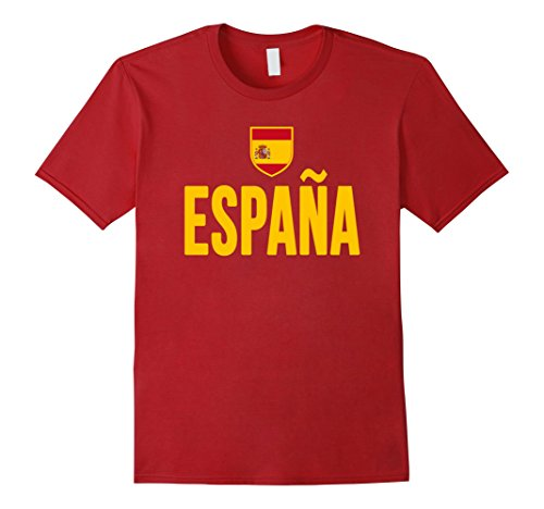 Men's SPAIN T-shirt Spanish Flag Espana Emblem-a Soccer Spaniard XL Cranberry
