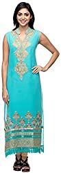 G&Z Collections Women's Georgette Straight Kurta (GZ030, Turquoise, 40)