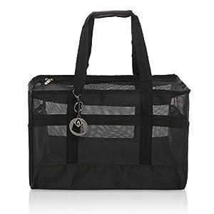 MG Collection® Black Nylon Breathable Mesh Soft Sided Dog & Cat Travel Pet Carrier Shoulder Tote Bag