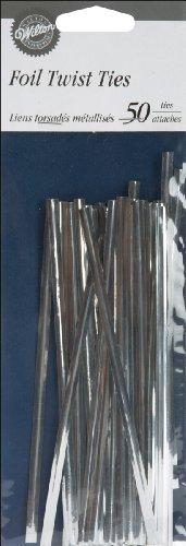 Wilton Foil Twist Ties, 5-Inch, Silver, 50-Pack