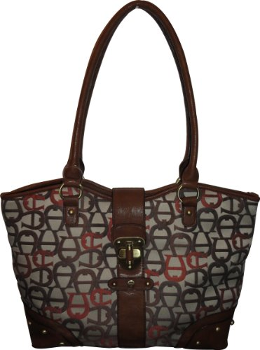 Etienne Aigner Purse Handbag Corner Office Tote Collection Neutral Multi