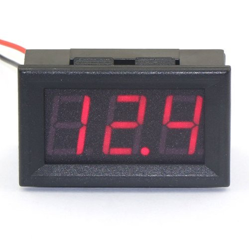 Vvw 2 Wire Red Led Panel Led Display Voltage Meter Voltmeter+With Reverse Polarity Protection