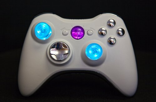 Xbox 360 Modded Controller Cod Mw3, Black Ops 2, Mw2, Rapid Fire Mod (White/Chrome With Led Thumbsticks And Guide Butons)