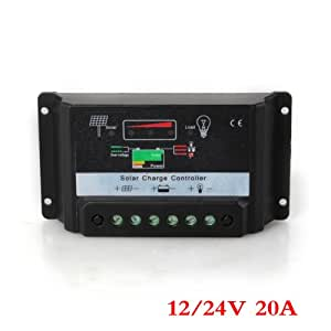 LED Régulateur de Charge Panneau Solaire Solar Panel Controller 20A 12/24V Auto