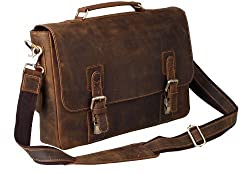 Peacechaos ' Mens Top Layer Real Cow Leather Shoulder Briefcase Attache 15.6 Inch Laptop Bag Tote