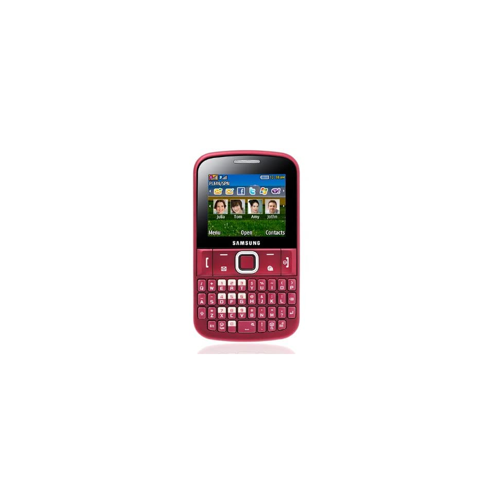 Samsung Ch@t 220 E2220 Unlocked GSM Phone with QWERTY Keyboard, VGA Camera, Video, Bluetooth, FM Radio,  Player and microSD Slot   Red