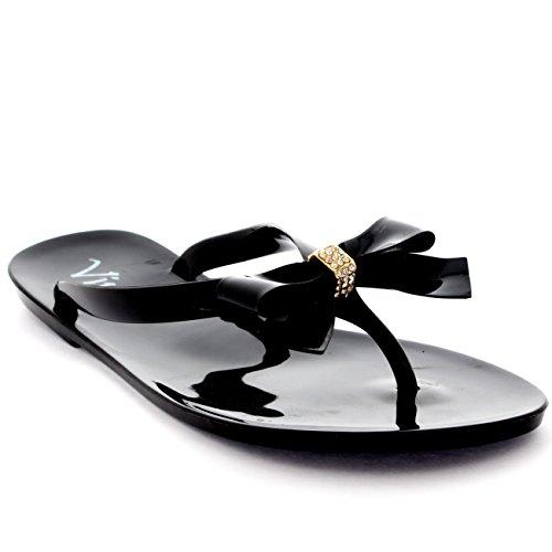 Womens Beach Summer Vacation Shoes Jelly Bow Flip Flops Slip On Sandals - Black - Eu 37 / Us 6