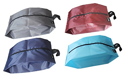 misslo-portable-waterproof-nylon-travel-shoe-bags-with-zipper-closure-pack-4-mix-color