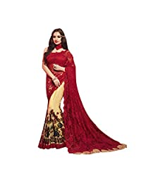 Red And Beige Net And Lycra Half And Half Saree