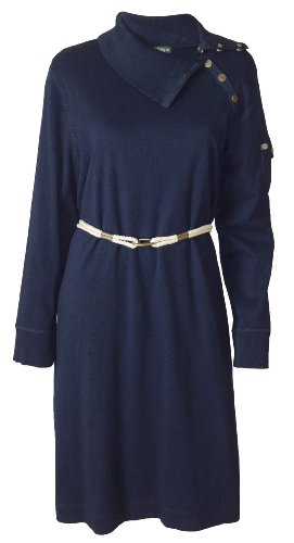 Lauren Ralph Lauren Thoroughbred Long Sleeve Dress (1X (Plus Size), Thoroughb...