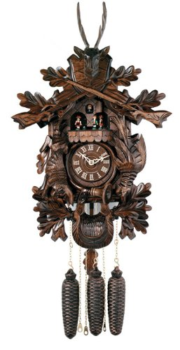 River City Clocks MD847-24 Eight Day Musical Hunter'S Cuckoo Clock with Dancers, Hand-Carved Animals, Leaves, And Buck, 24-Inch Tall