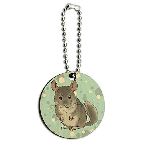 Chinchilla Pet Wood Wooden Round Key Chain
