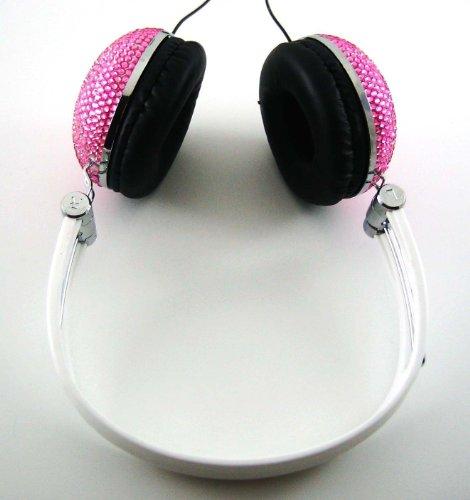 Pink Crystal Rhinestone Bling Dj Over-Ear Headphones
