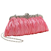 MG Collection Chic & Sleek Pink Fabric Evening Clutch Rhinestone Accents Purse