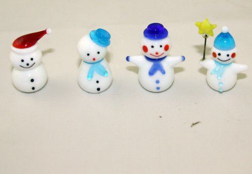 Cheap tekstar Set of 4 Blown Glass Snowman Miniature Figurine – Holiday Gift (B001869BZ0)