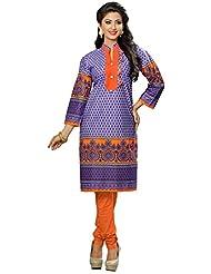 RK Exports Women's Purple-Orange Fully Stitched Cotton Kurti - B01LDHBZCA