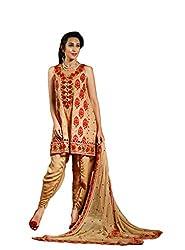 Royal Fashion Latest Designer Golden GEORGETTE Dress Material.