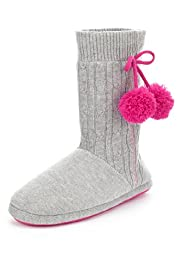 Knitted Pom-Pom Boot Slippers