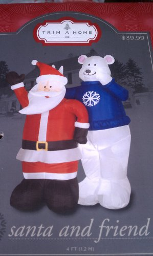 LED Lit Inflatable Airblown Santa and White Polar Bear