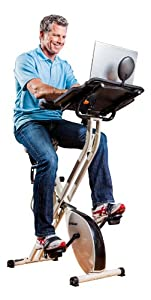 FitDesk FDX 2.0 Desk Exercise Bike with Massage Bar, White