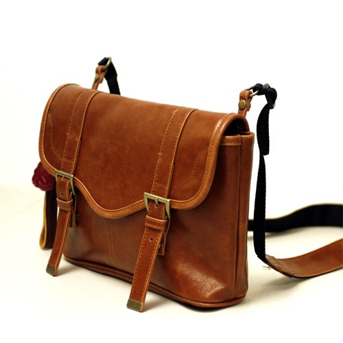 Faux Leather Vintage Camera Bag Style w/Additional Shoulder Strap