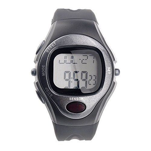 Kalevel Sports Pulse Rate Monitor Watch Calorie Counter Digital Wrist Watch Waterproof with Alarm Calendar Stopwatch (Grey)