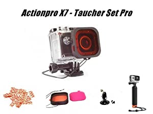 Actionpro X7 Taucher Set - X7 Diving Edition mit Tauchfilter, Tauchstativ, Zusatzakku, Anti Fog Pads