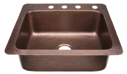ECOSINKS KSD-2522HA Drop-In Hammered 4-Hole Single Bowl Kitchen Sink, Antique Copper