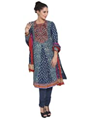 Biba Cotton Biba Embroidered Churidar & Dupatta Blue Kurta