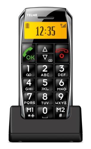 TELME C135 Handy schwarz/silber ohne Branding, inkl. Tischladestation