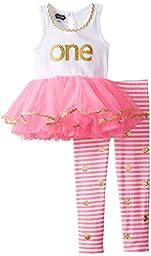Mud Pie Baby Girls\' I\'m 1 Tunic and Legging Set, Pink, 12 18 Months