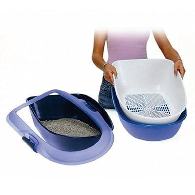 Trixie Barto 40152 Cat Litter Tray 39 × 22 × 59 cm Light Blue / Dark Blue / Granite