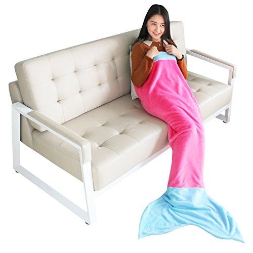 iEFiEL Damen Meerjungfrau Flosse Kostüm Blanket Decke Fleecedecke Tagesdecke Wohndecke (Dunkel Rosa+Blau) thumbnail
