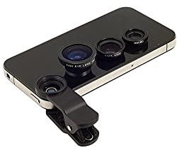 Finger's Universal 3 in1 Clip On Camera Lens Kit Wide Angle Fish Eye Macro Mobile Phone Lens( Black)