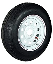 15″ x 5″ White Modular Trailer Wheel with bias ST20575D15C Tire Mounted (5-4.5″ bolt circle)