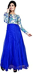 Surat Arts Blue Bhagalpuri Silk Anarkali Semi Stitched Dress Material