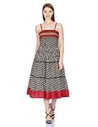 Shree Women's Cotton A-Line Dress (16109B_Black and Multicolor_S)