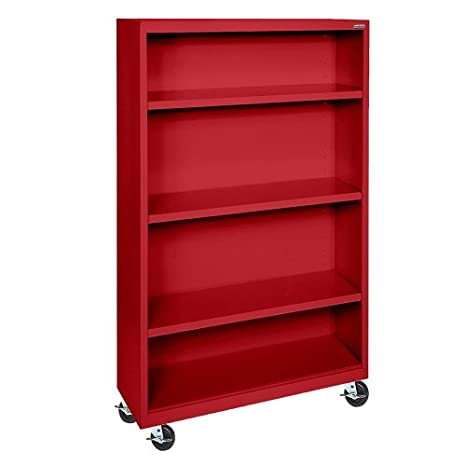 "Sandusky Lee BM30361852-01 Red Steel Mobile Bookcase, 3 Adjustable Shelves, 200 lb. Per Shelf Capacity, 58"" Height x 36"" Width x 18"" Depth"