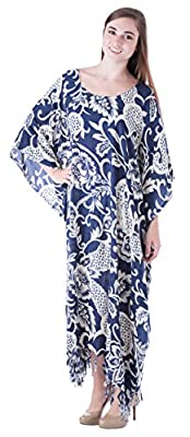 Sante Classics Women's Rayon Floral Caftan Fringe Dress / Cover up One Size Navy