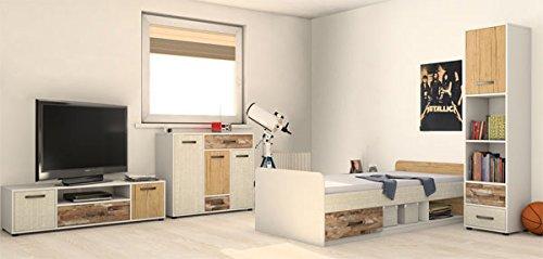 Jugendzimmer komplett 215355 4-teilig weiß / Vintage Look