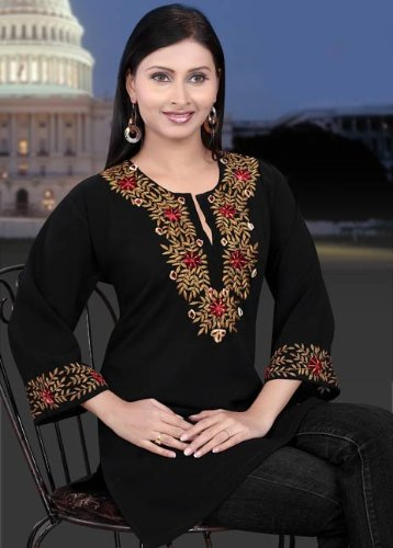 two color embroidered black synthetic ladies / womens top / tunics / dresses / kurta kurti