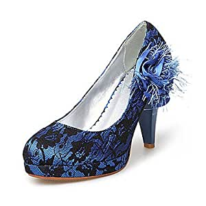 Amazon.com: Fabric/ Lace Upper Chunky Heel Pumps With