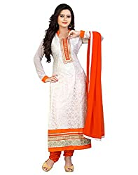 Yehii Women's Brasso White Plain / Solid dress material Unstitched Salwar Kameez Dupatta for women party wear low price Below Sale Offer